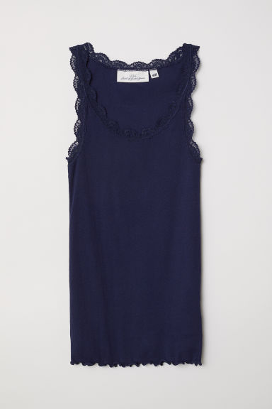 Ribbed vest top with lace - Dark blue - Ladies | H&M