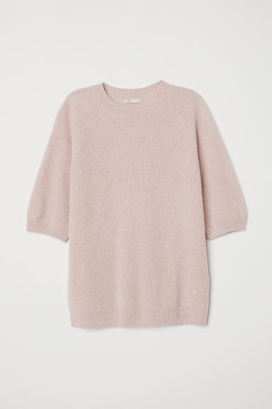 Short-sleeved cashmere jumper - Powder pink - Ladies | H&M CN