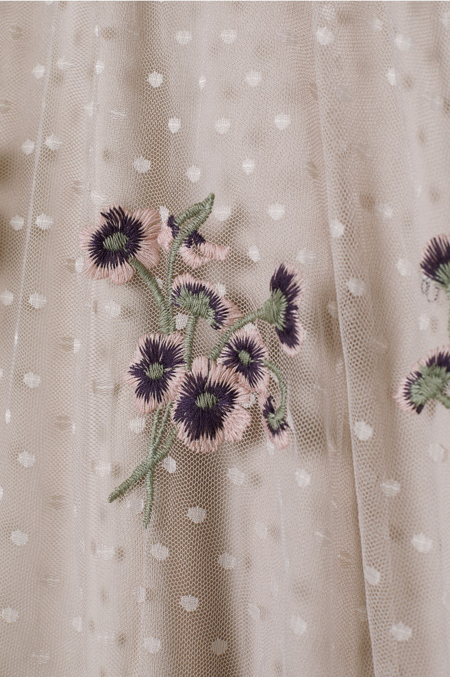 887ca5d4118945 Embroidered mesh skirt - Light beige - Ladies   H&M 2