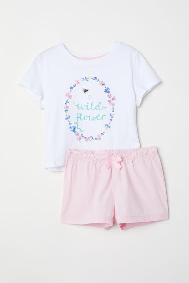 Pyjama top and shorts - Light pink/Flowers -  | H&M