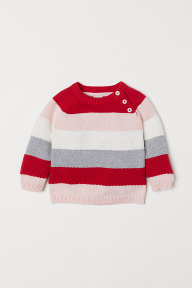 Fine-knit jumper - Red/Striped - Kids | H&M CN
