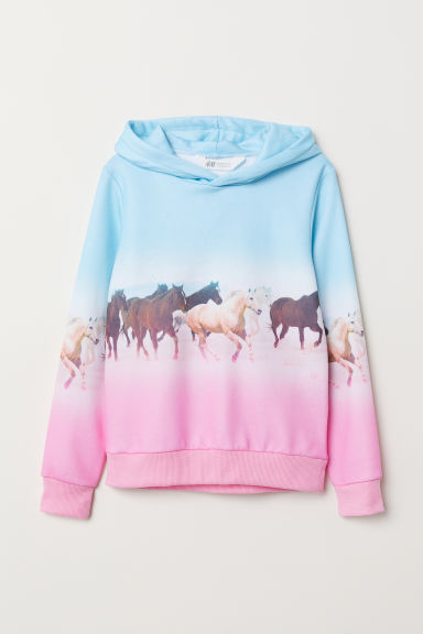 Printed hooded top - Turquoise/Horses - Kids | H&M