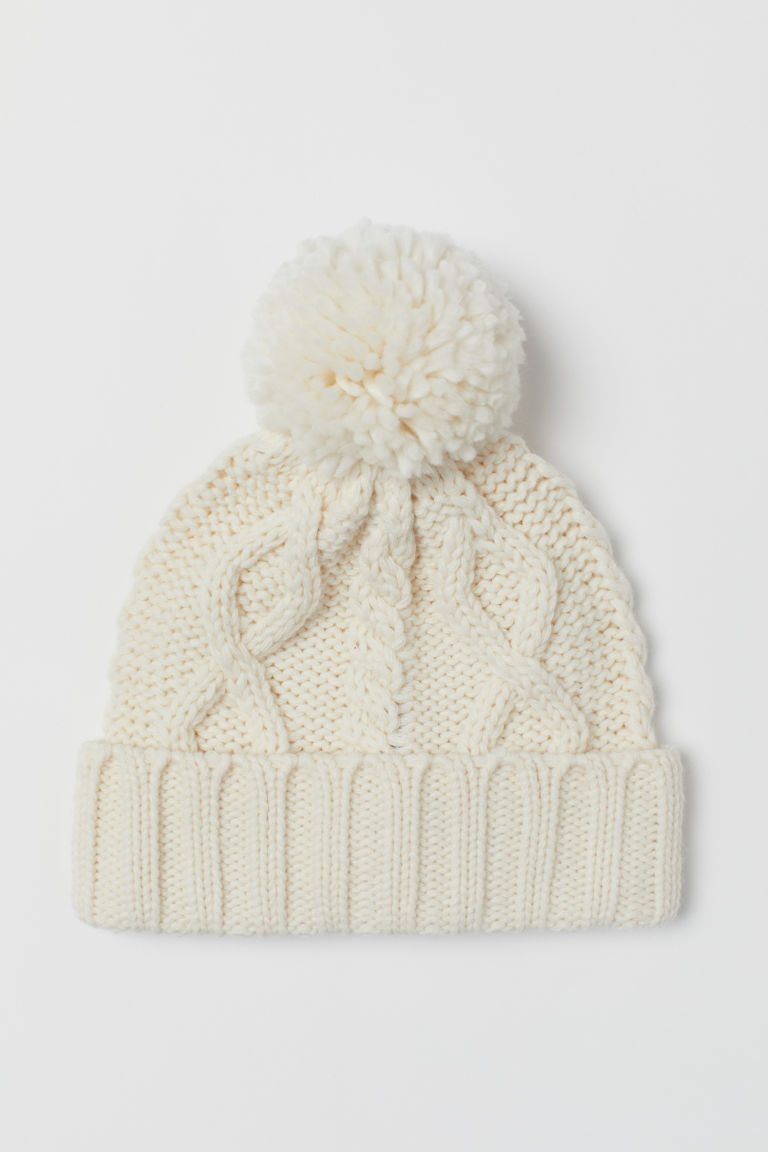 Cable-knit hat - Natural white -  | H&M GB
