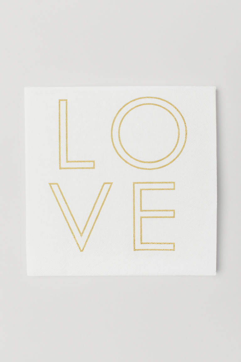Paper napkins - White/Love - Home All | H&M CN