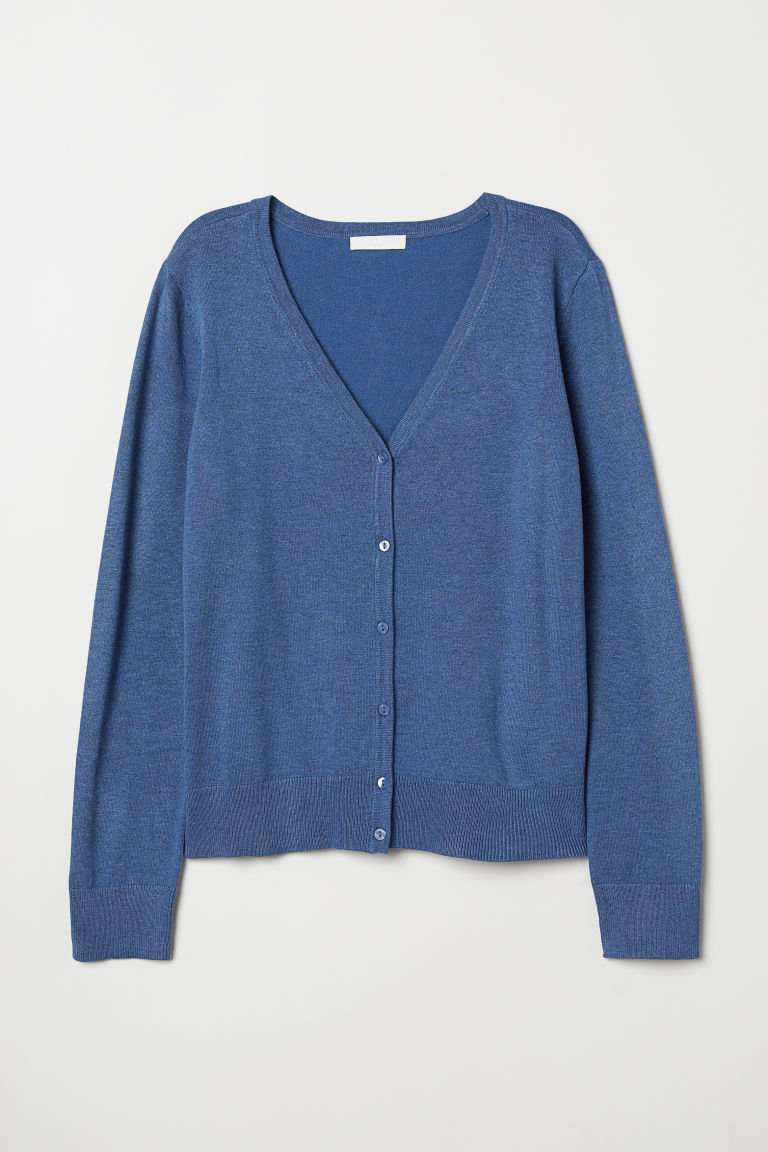 Fine-knit cardigan - Blue marl - Ladies | H&M