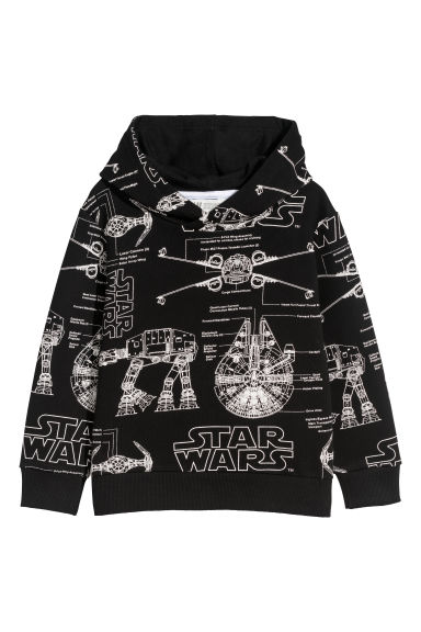 Printed hooded top - Black/Star Wars -  | H&M CN
