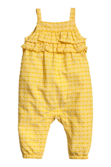 Frilled cotton romper suit - Yellow -  | H&M CN