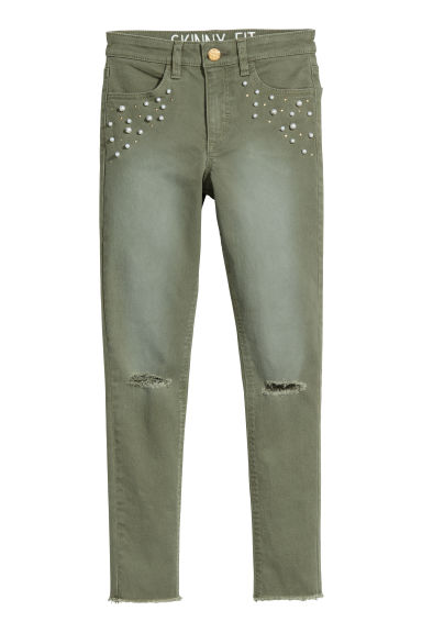 Twill trousers Skinny fit - Khaki green/Beads - Kids | H&M CN