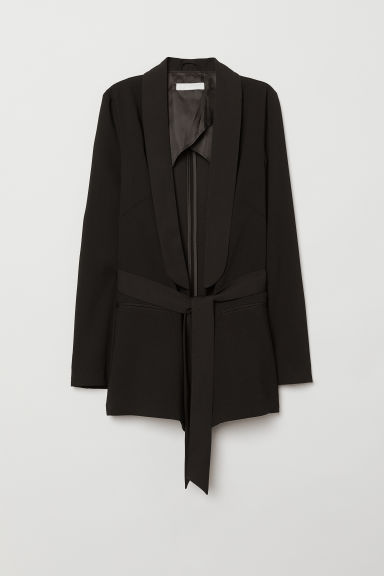 Jacket with a tie belt - Black - Ladies | H&M