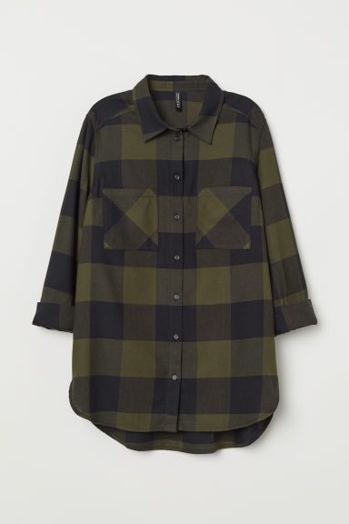 Camicia in cotone - Verde scuro/blu scuro quadri -  | H&M IT