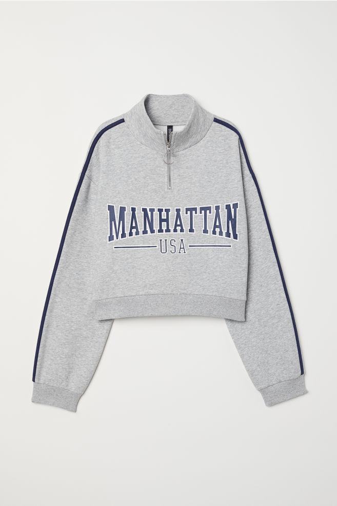 Stand-up Collar Sweatshirt - Light gray melange Manhattan - Ladies ... 6d65cb19b