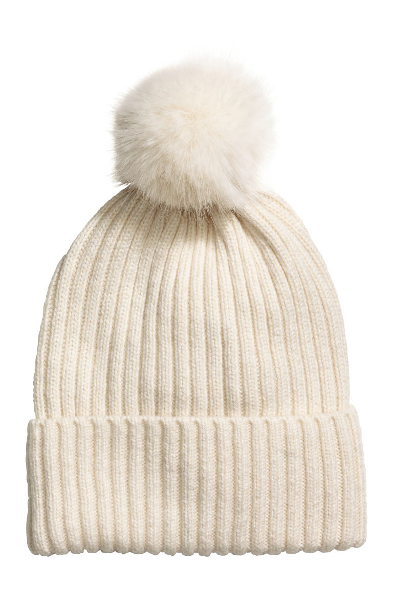 Rib-knit hat - Natural white - Ladies | H&M GB
