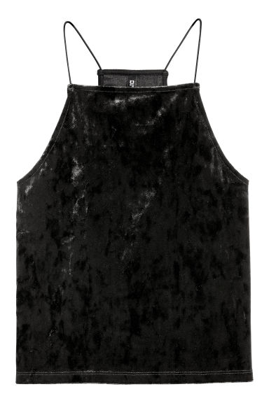 Velour strappy top - Black -  | H&M GB