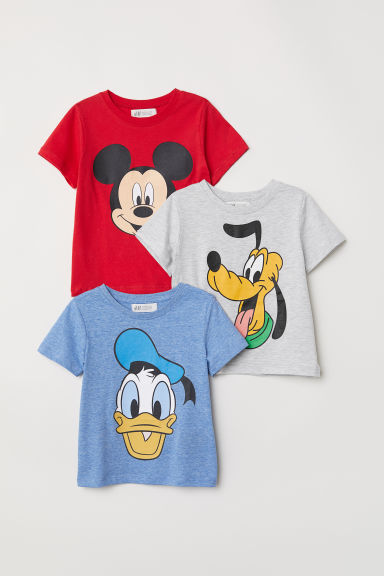 3-pack printed T-shirts - Red/Mickey Mouse - Kids | H&M