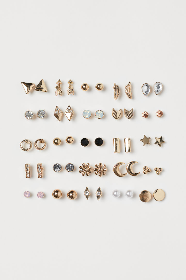 25 pairs Stud Earrings - Gold-colored - Ladies | H&M CA