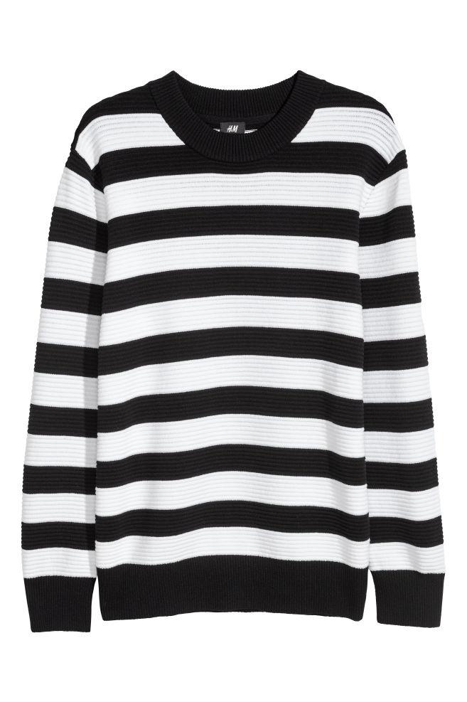 Textured Knit Sweater Blackwhite Striped Men Hm Ca