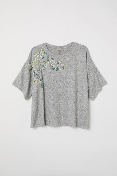 H&M + Jumper with embroidery - Grey marl/Embroidery - Ladies | H&M