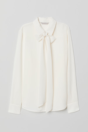 Tie-collar silk blouse