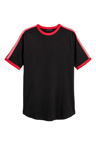 T-shirt with side stripes - Black -  | H&M GB