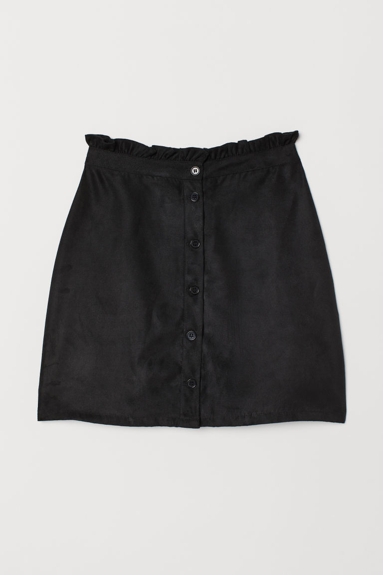 Imitation suede skirt - Black -  | H&M