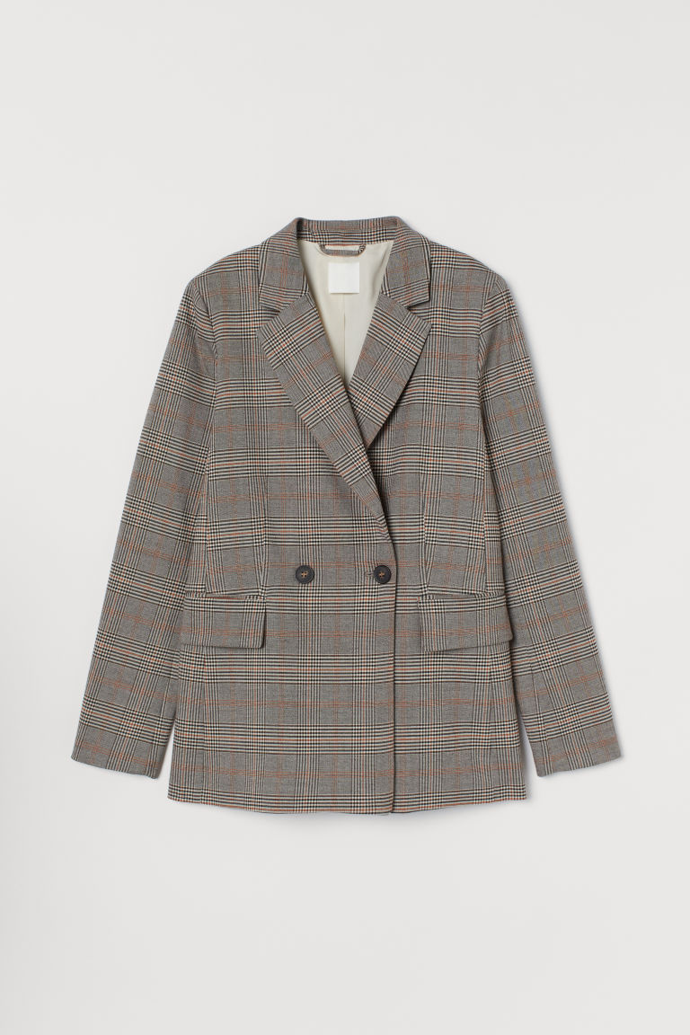 Double-breasted Jacket - Gray/checked - Ladies | H&M CA