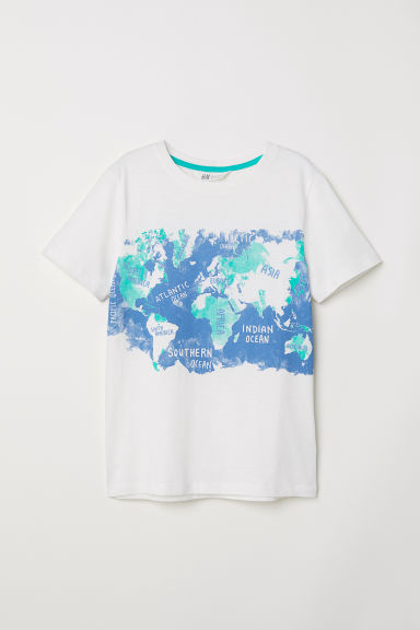 Printed T-shirt - Natural white/World map -  | H&M