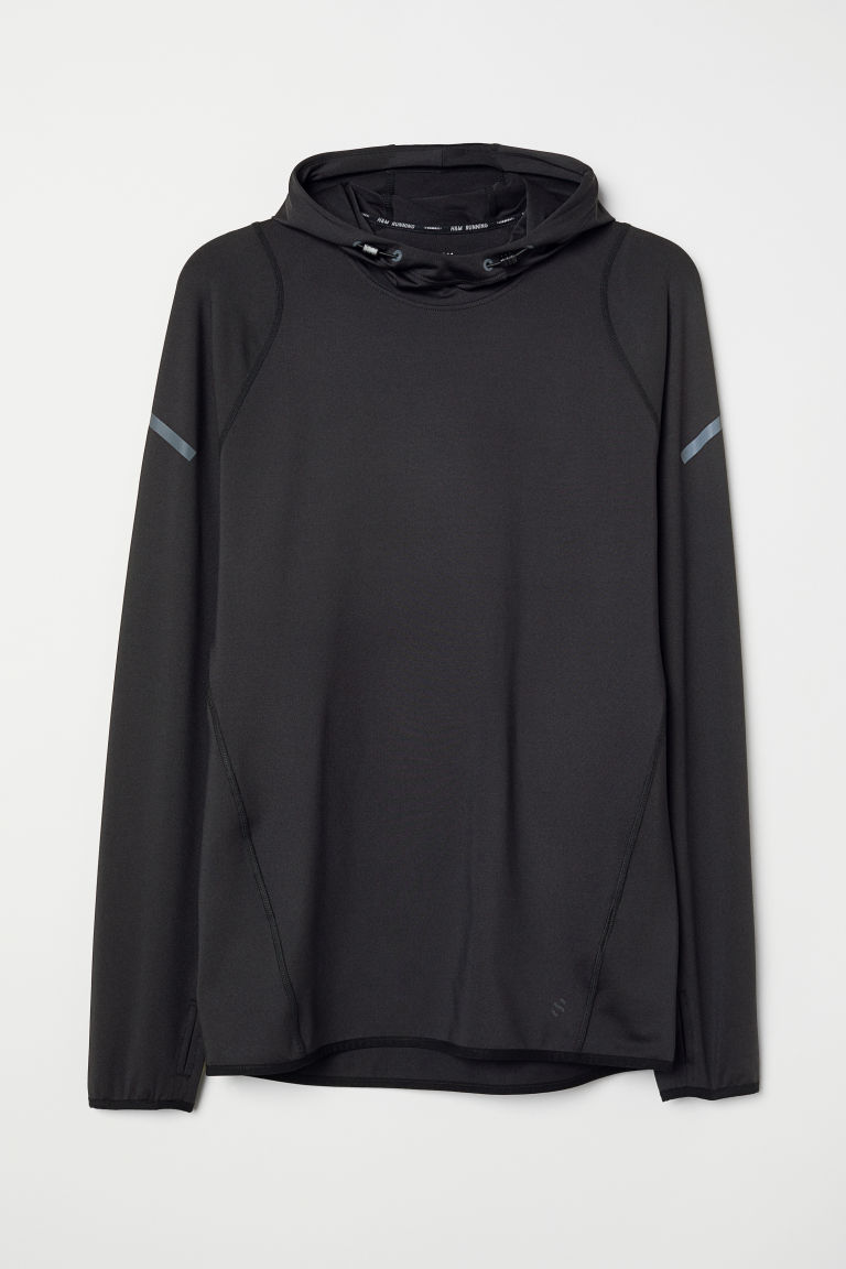 Hooded running top - Black - Men | H&M CN