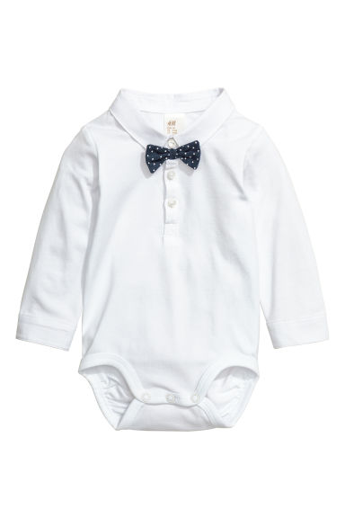 Bodysuit with a bow tie - White - Kids | H&M