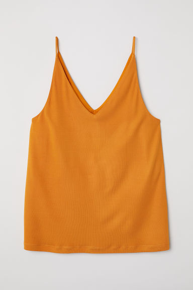 V-neck top - Amber-coloured - Ladies | H&M