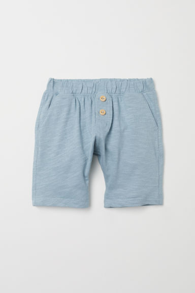 Slub cotton jersey shorts - Light turquoise - Kids | H&M CN