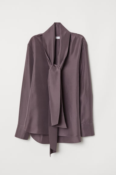 Silk Blouse with Tie Detail - Dark heather purple - Ladies | H&M US