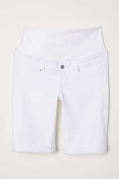MAMA Denim shorts - White denim - Ladies | H&M