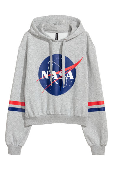 Short hooded top - Light grey/NASA - Ladies | H&M GB