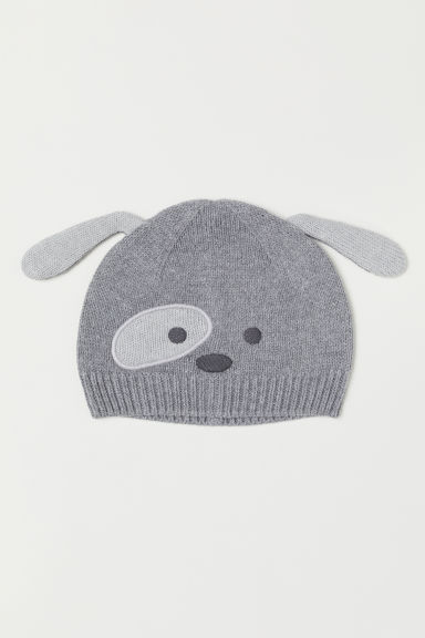 Hat with ears - Grey marl/Dog - Kids | H&M