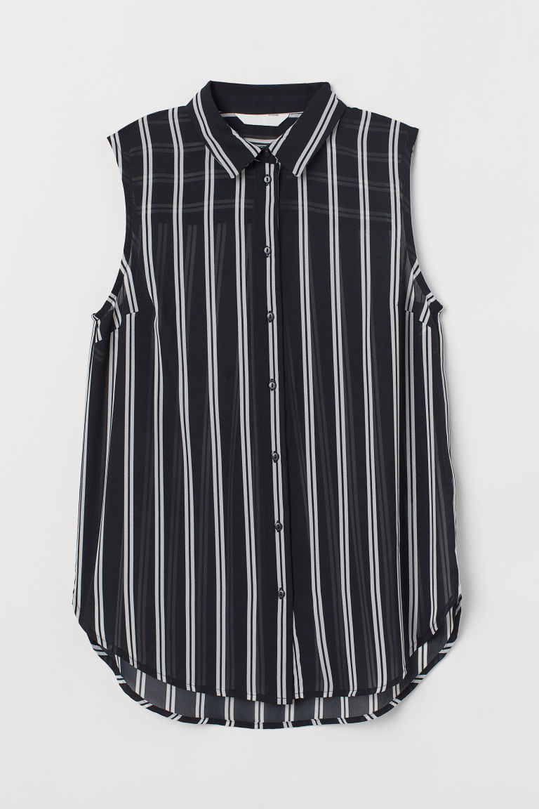 Sleeveless Blouse - Black/white striped - Ladies | H&M CA
