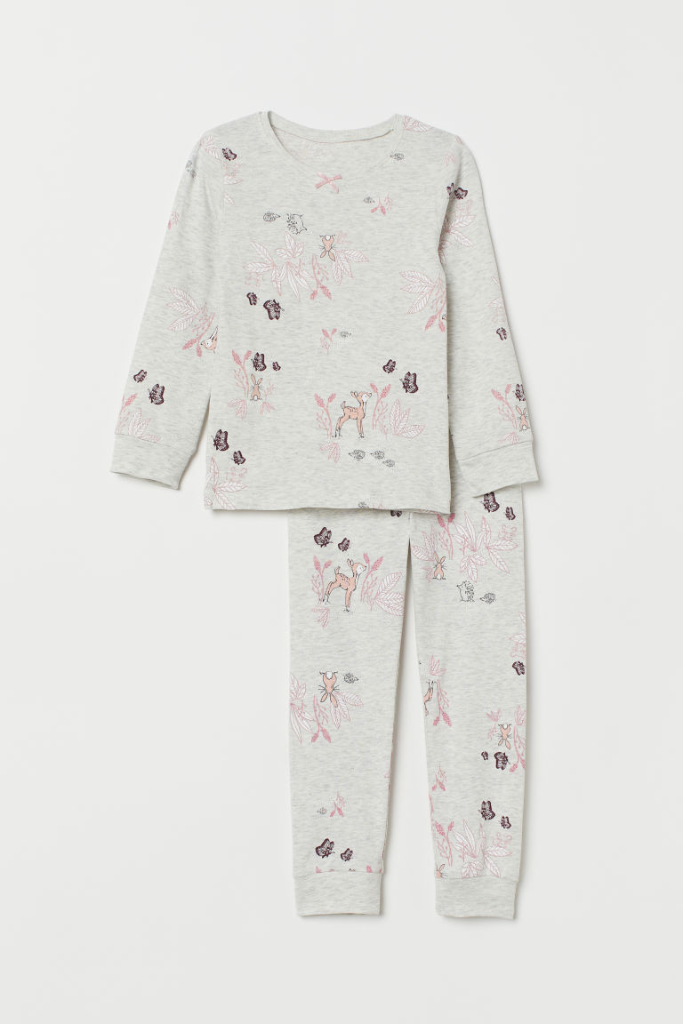 Jersey pyjamas - Light grey marl/Forest animals - Kids | H&M CN