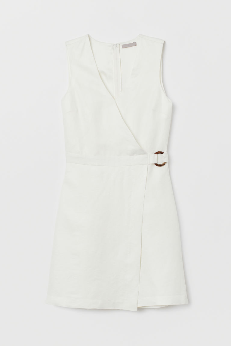 Linen-blend wrapover dress - Cream - Ladies | H&M