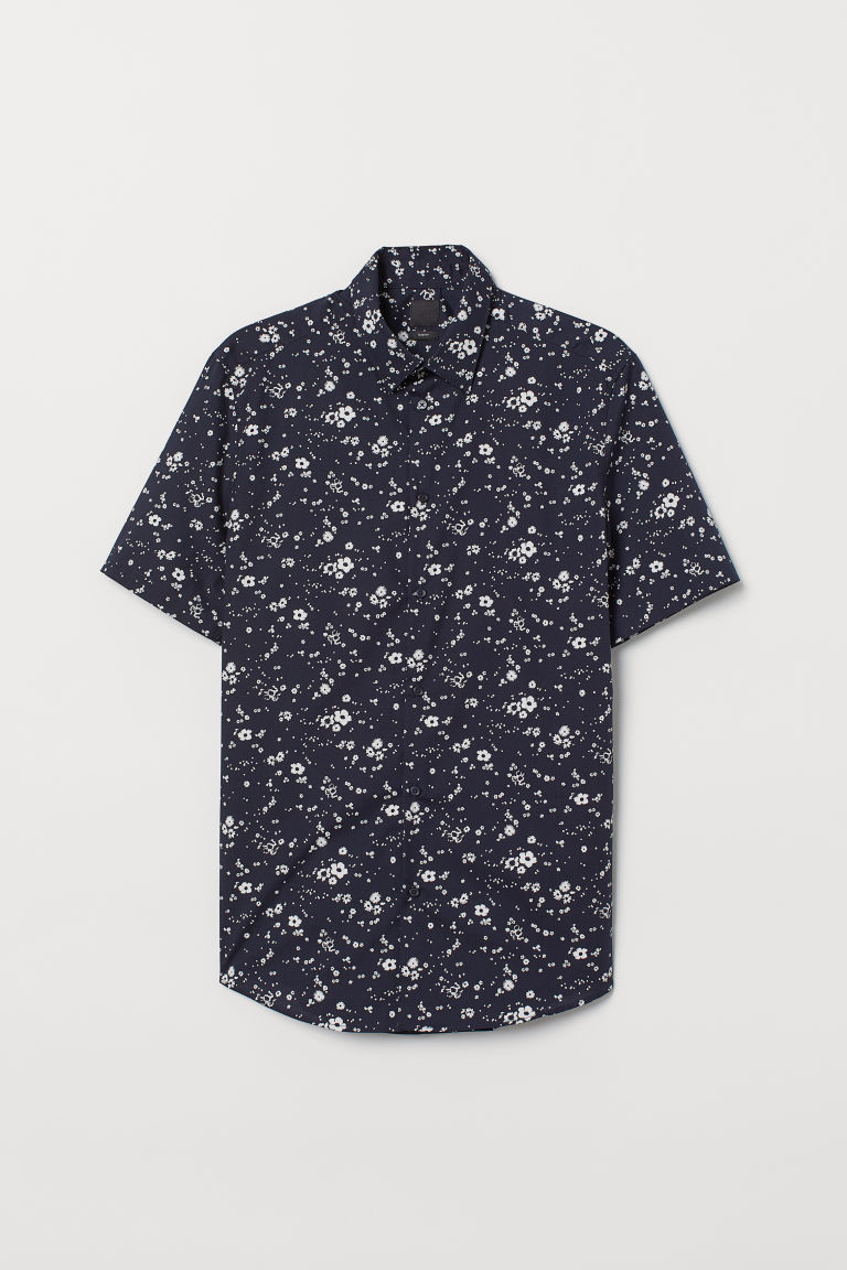 Hemd - Slim fit - Donkerblauw/dessin - HEREN | H&M BE