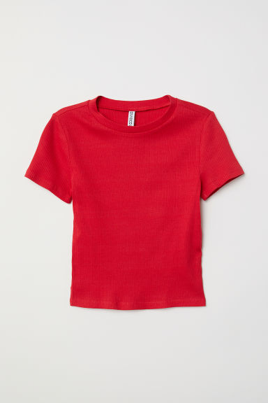 羅紋上衣 - 紅色 - Ladies | H&M
