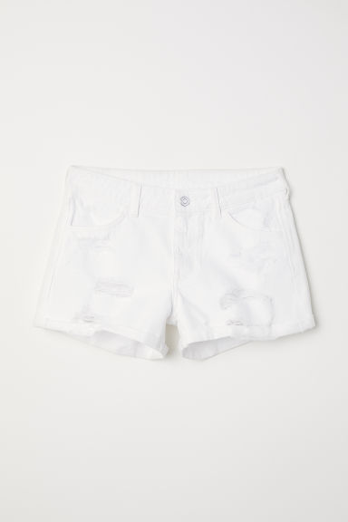 Denim shorts - White - Ladies | H&M