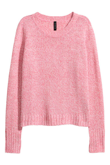Knitted jumper - Pink marl -  | H&M