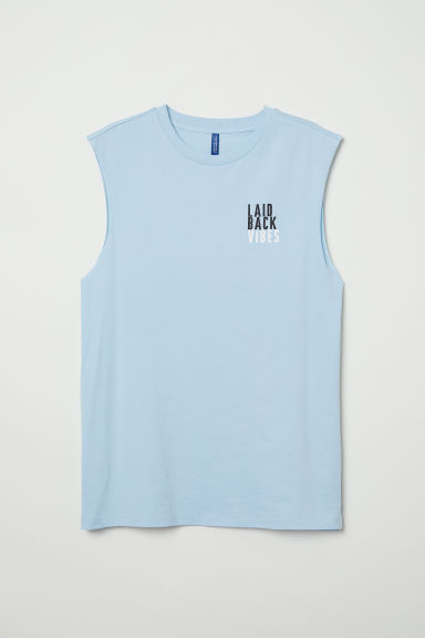 Tank Top with Motif - Light blue/Laid Back - Men | H&M US