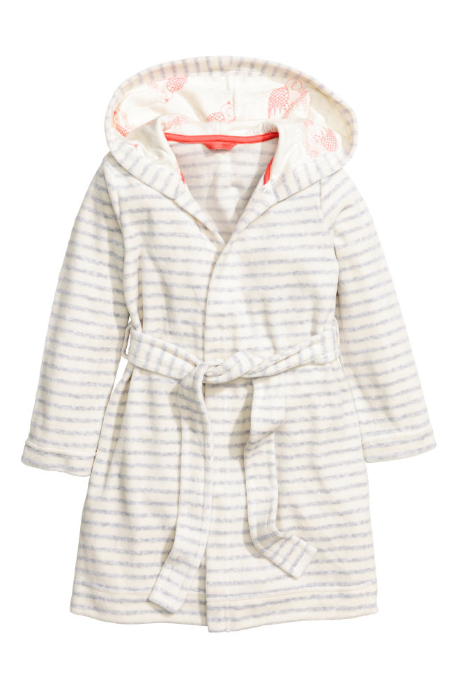 Velour dressing gown - White Grey striped - Kids  c21953a23