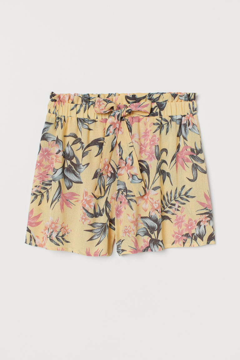 Shorts with ties - Yellow/Floral -  | H&M IE