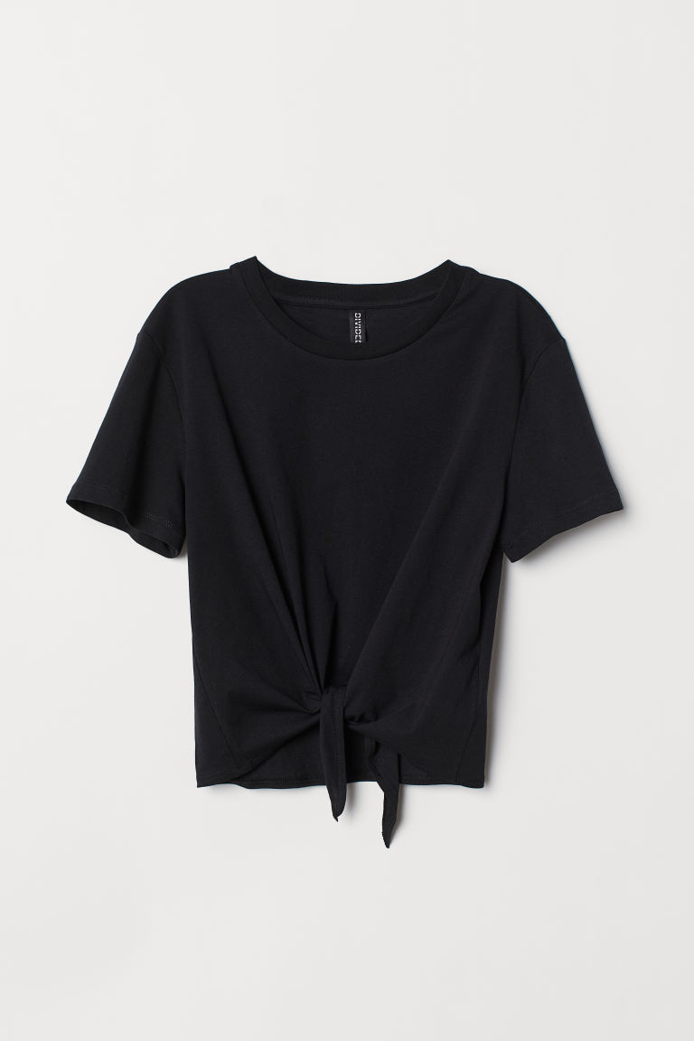 Tie-detail T-shirt - Black -  | H&M