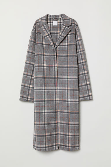 Cashmere-blend coat - Grey marl/Checked - Ladies | H&M CN