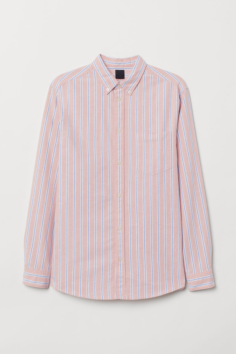 Regular Fit Oxford Shirt - Light orange/blue striped - Men | H&M US