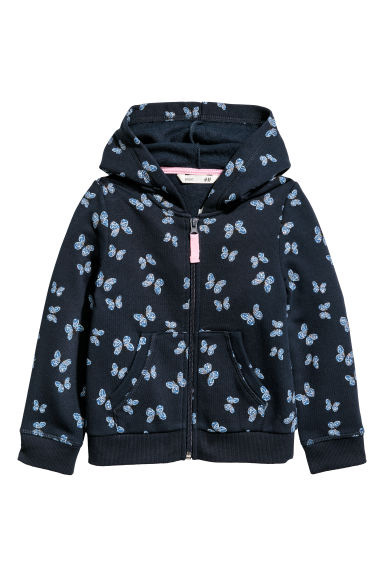 Hooded jacket - Dark blue/Butterflies - Kids | H&M