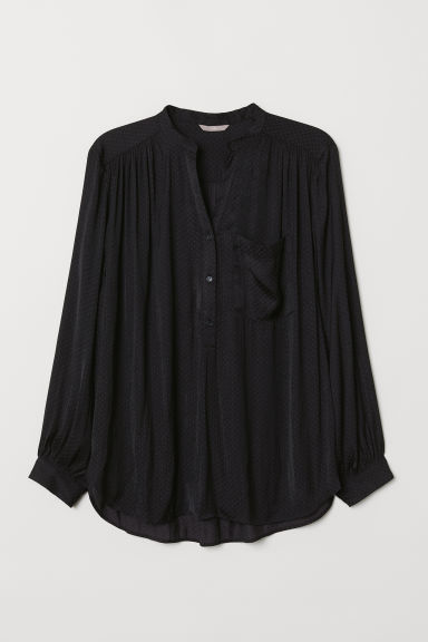 H&M+ V-neck blouse - Black/Patterned - Ladies | H&M