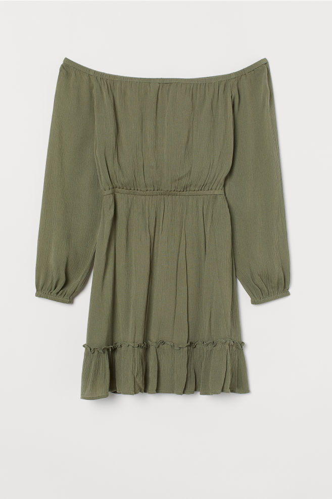 68a90c1a701a Off-the-shoulder dress - Khaki green - Ladies